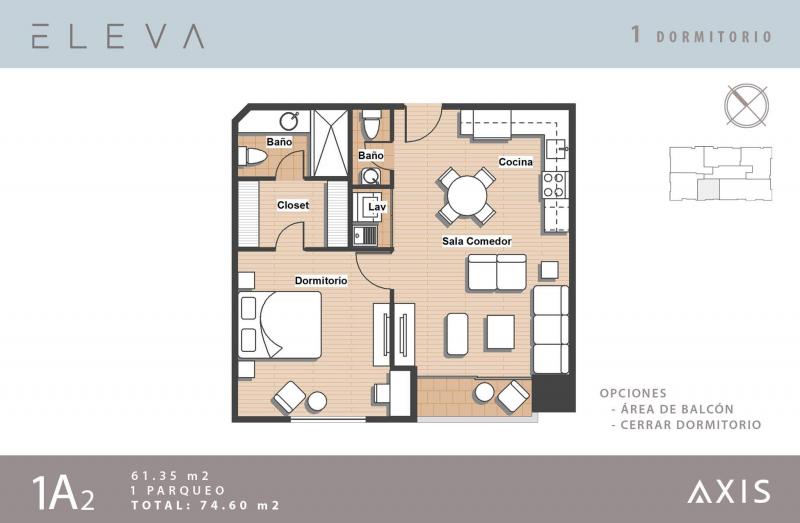 Apartamento 1 Habitacion en Venta, Vista Hermosa II - large - 26805
